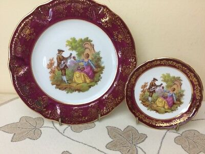 Limoges France Fragonard 2 x Decorative Plates Small \u0026 Medium & LIMOGES FRANCE Fragonard 2 x Decorative Plates Small \u0026 Medium ...