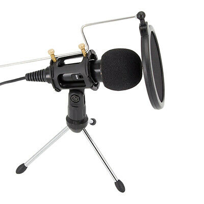 Plug&Play Condenser Microphone w/ Pop Filter Stand for PC Computer Recording