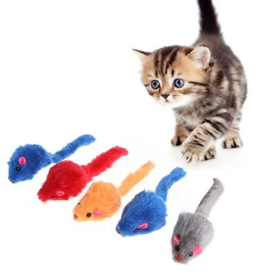 5 Pcs Cat Toys False Mouse Plush Soft Colorful Kitten Pets Squeaky Playing Funny