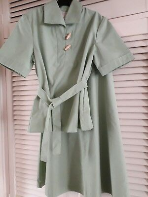 Vintage girls 70's tunic and skirt set St Michael Sage green Age 11 years