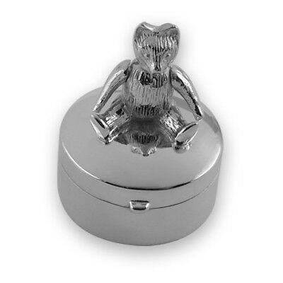 NEW - Hallmarked Sterling Silver - Round TEDDY BEAR TOOTH FAIRY BOX