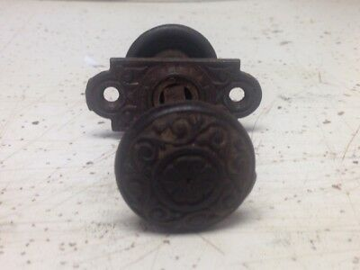 Antique Vintage Cast Iron 1-1/4 Inch Ornate Screen Door Knob Set Floral Design
