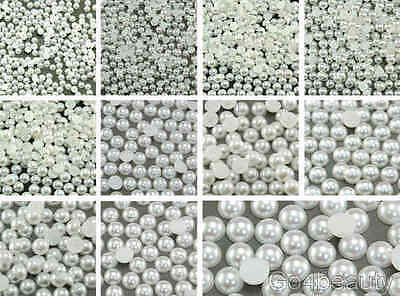 White Half Pearl Beads Flat Back - 11 Sizes - Aussie Warehouse