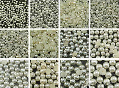 Ivory Half Pearl Beads Flat Back - 11 Sizes - Aussie Warehouse