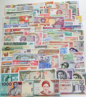 100 Different world paper money collection, UNC genuine banknotes. High Quality!