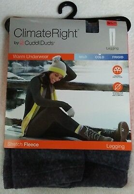Climate Right By Cuddl Duds Grey Women's Stretch Fleece Leggings (S) FREE S&H!