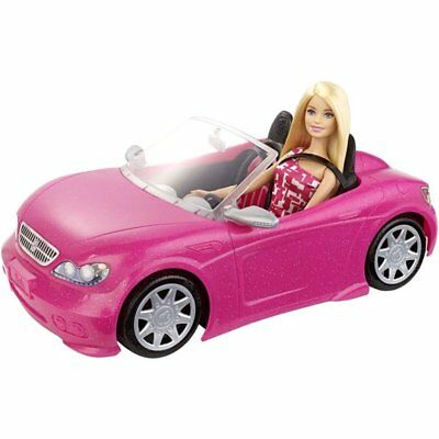 Barbie Doll and Glam Convertible Car Pink New