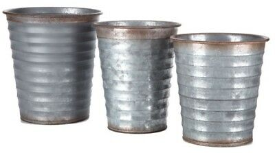 Distressed Ribbed Metal Bucket Container Set x3 Rustic Farmhouse Storage & Decor