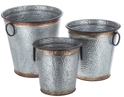 XL Hammered Metal Bucket Container Set x3 Rustic Farmhouse Storage & Decor