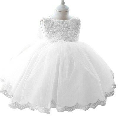 Baby Toddler Girls Pretty White Lace Christening Baptism Occasion Wedding Dress