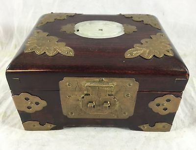 VINTAGE ASIAN Chinese Brass Wood white jade Jewelry Box Shanghai