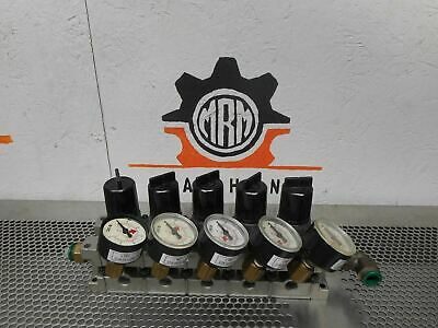 SMC NARM2500 (5) Air Regulators 0.05-0.85MPA With (4) SMC Gauges 0-60PSI Used