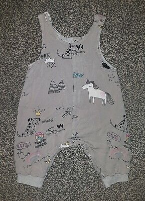 ***NEXT Baby Girls Grey Unicorns Rainbows Dogs Playsuit Dungarees Outfit 3-6***