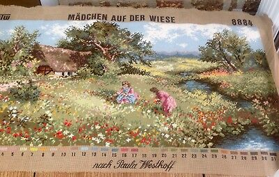 """Large Completed German Tapestry By Paula Westhoff """"Madchen Auf De Wiese"""""""