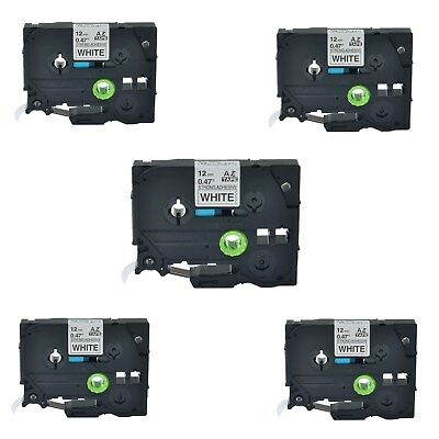 """5PK TZe TZ S231 Black On White Label Tape For Brother P-Touch PT-1100 12mm 1/2"""""""