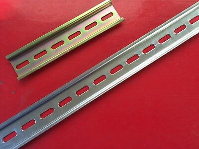 "Din Rail ""Top Hat""  Slotted 35mm X 7.5mm x 150 to 1000mm length. Packs 5, 10, 20"