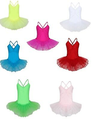 Girls Shiny Lycra Tutu Leotards - Dance Show Ballet - Red Pink Blue Yellow White