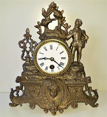 Antique 19th Century Gilt Metal Mantel Clock by Japy Freres & Cie