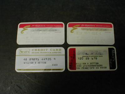 4 Vintage Department Store Credit Cards - 2 Emporium, 1 Macy's, 1 Sears Roebuck