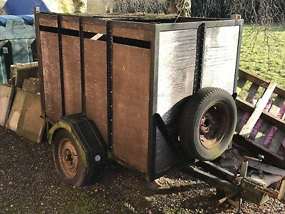 Wooden livestock trailer with drop board, car boots, pigs, sheep, go karts.