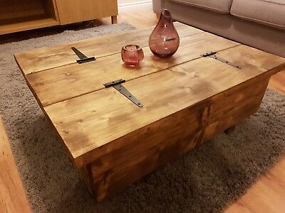 Coffee Table Storage Trunk, Wooden Chest Farmhouse Chunky Rustic Blanket Box