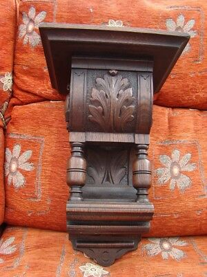 """carved oak clock bracket very heavy solid oak 9""""3/4"""" x 8"""" for clock to stand"""