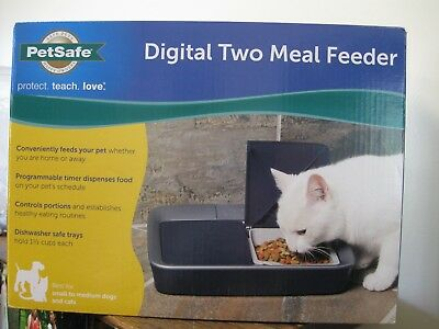 New! PetSafe Digital Two Meal Feeder Small to Medium Dogs & Cat