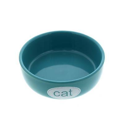 Cat Bowl Kool Turquoise White 12cm Dishwasher & Microwave Safe Kitten Feed Food