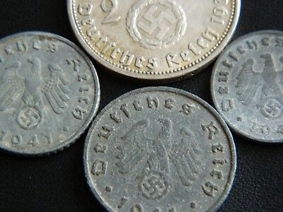 2 pfennig  with Swastika 1937-1940 14 Lot of Germany coins 1