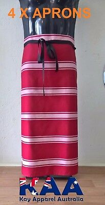 4 X Butchers Apron Waist/Lap Apron RED/WHITE 85x80cm, Smoking, American BBQ