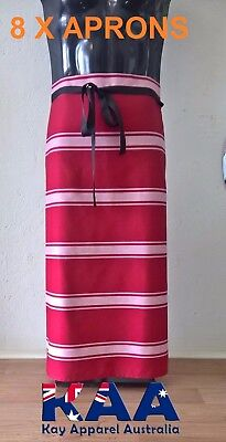 8 X Butchers Apron Waist/Lap Apron RED/WHITE 85x80cm *MADE IN KINGAROY QLD*