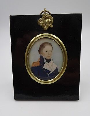 Antique Watercolor Portrait of a Soldier – Late 18th Early 19th Century