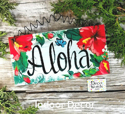 "Aloha SIGN * Indoor * Wire Wood Decor 7.75""x4"" * Floral Hibiscus Design USA New"