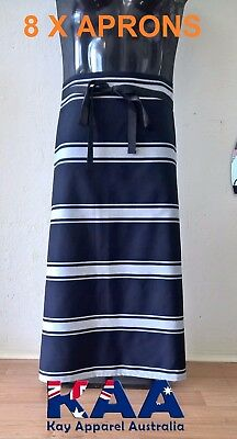 8 X Butchers Apron Waist/Lap Apron Navy/white 85x80cm *MADE IN KINGAROY QLD*