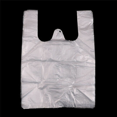 40pcs 20*28cm White Retail Merchandise Supermarket Grocery Plastic Shopping Bag