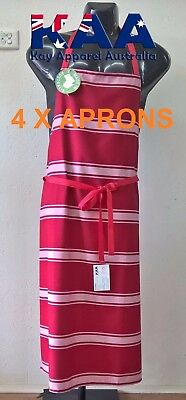 4 X Butchers Apron Bib Apron RED/WHITE 105x80cm, Smoking, American BBQ