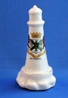 S-131 English Crested Ware Souvenir Savoy China Lighthouse, Plymouth