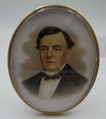 Antique Watercolor Portrait of a Gentleman Pendant/Brooch – Late 19th Century