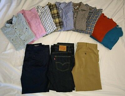 Lot of 12 Mixed Designer Brands Shirts, Sweaters, Pants Bonobos Levi | M L 33/30