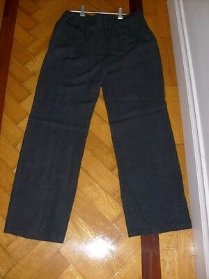 Women's Linen Black Pants - AUSTRALIAN made FABRIC ITALY - OJAY - size 12