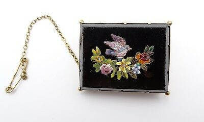 Antique Italian Micro Mosaic Pin Bird & Flowers Late 19th Century
