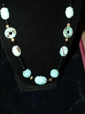 """Antique Vintage Carved Chinese CARVED Turquoise and Black Bead Necklace 22.5"""""""