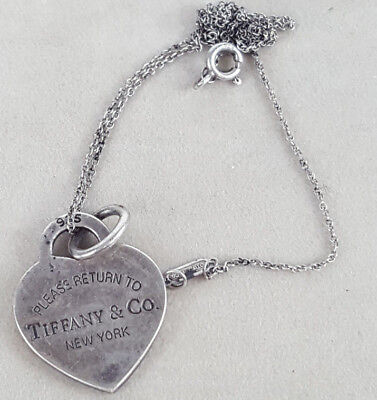 Older Please Return to Tiffany and Company Co 925 Sterling Silver Heart Necklace