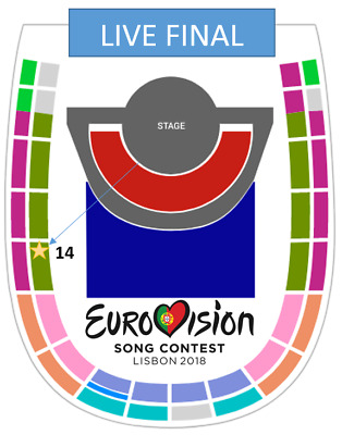 Eurovision 2018 Grand Final Live Show TICKET 12 May - Balcony 1A PREMIUM Entrada