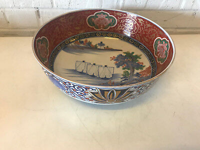 Antique Japanese Large Imari Porcelain Bowl Ships & Dragon / Foo Dog Decoration