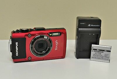 Olympus Tough TG-4 16.0MP Digital Camera - Red - with Extra Battery & Charger