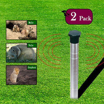 2Pcs Mole Vole Snake Sonic Waves Repeller Battery Operated Animal Repellent