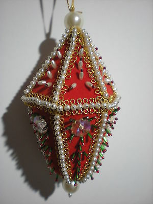 Fancy Victorian Large Vtg Red Pearl Beaded Christmas Ball Ornament Hand Made