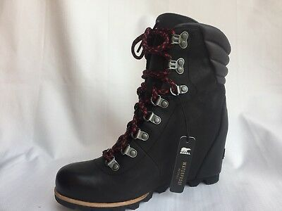 2c1b44b9c276 WOMENS SOREL CONQUEST Wedge Boots - Black Dark Grey Leather Waterproof Size  10.5 -  134.95