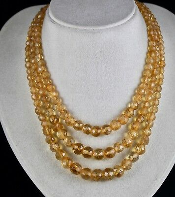 3 Line 611Cts Natural Yellow Citrine Faceted Round Beads Necklace With Silk Cord